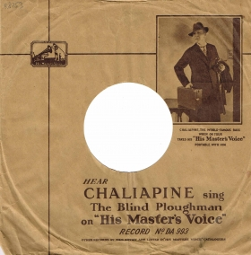 HMV paper sleeve advertising Chaliapine (Конверт HMV с Шаляпиным) (Lotz)