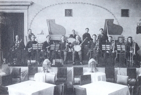 "Yakov Borisovich Skomorovsky Jazz Orchestra (performance in the Leningrad hotel ""European""). The photo. (Belyaev)"